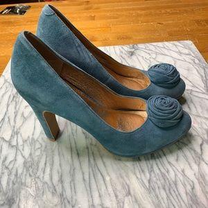 Anthropologie Miss Albright Suede Blue Shoe Rose